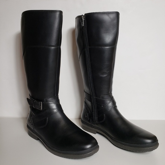 UGG Shoes - UGG Waterproof Leather Evanna Black Riding Boots